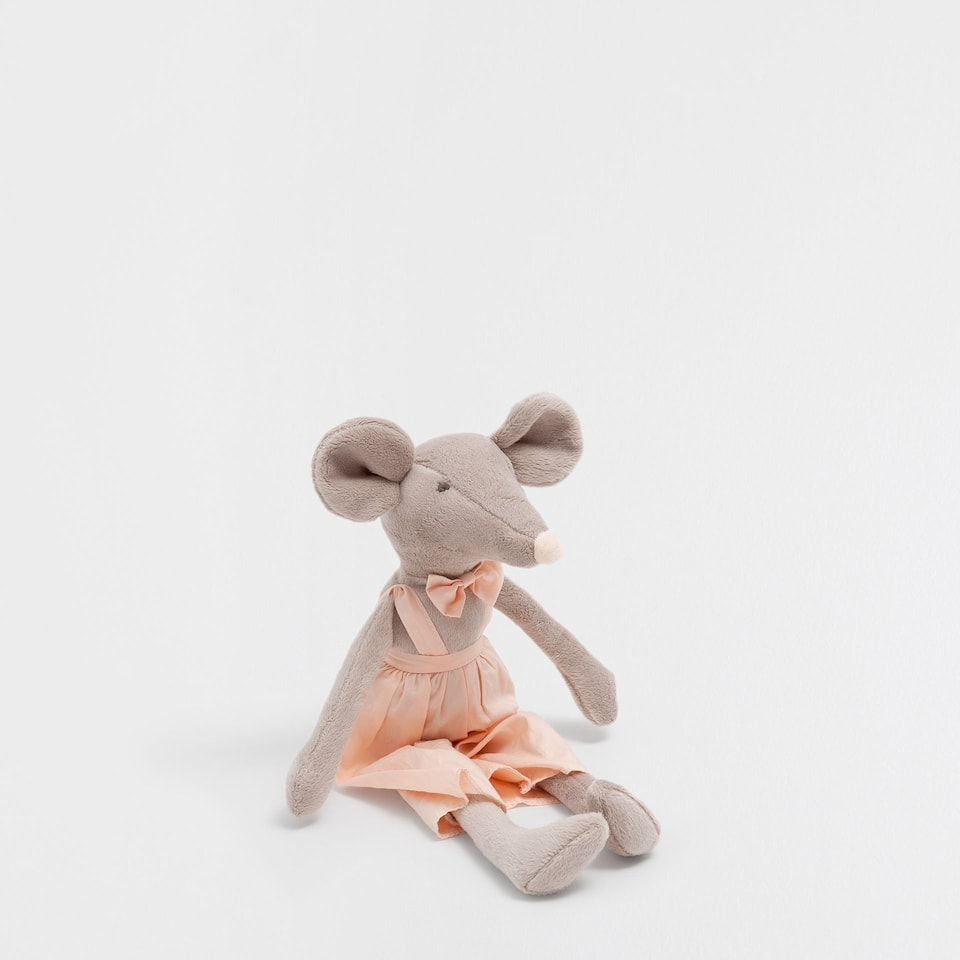 Mouse in dungarees soft toy