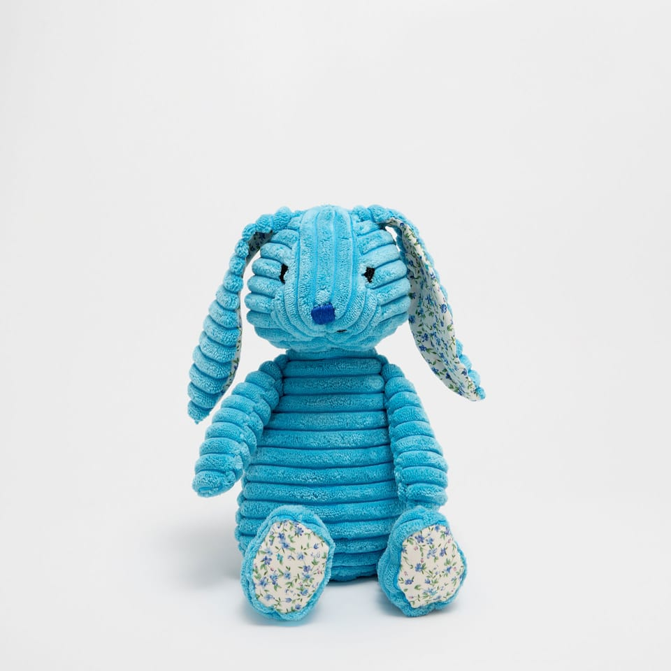 Blue corduroy rabbit soft toy