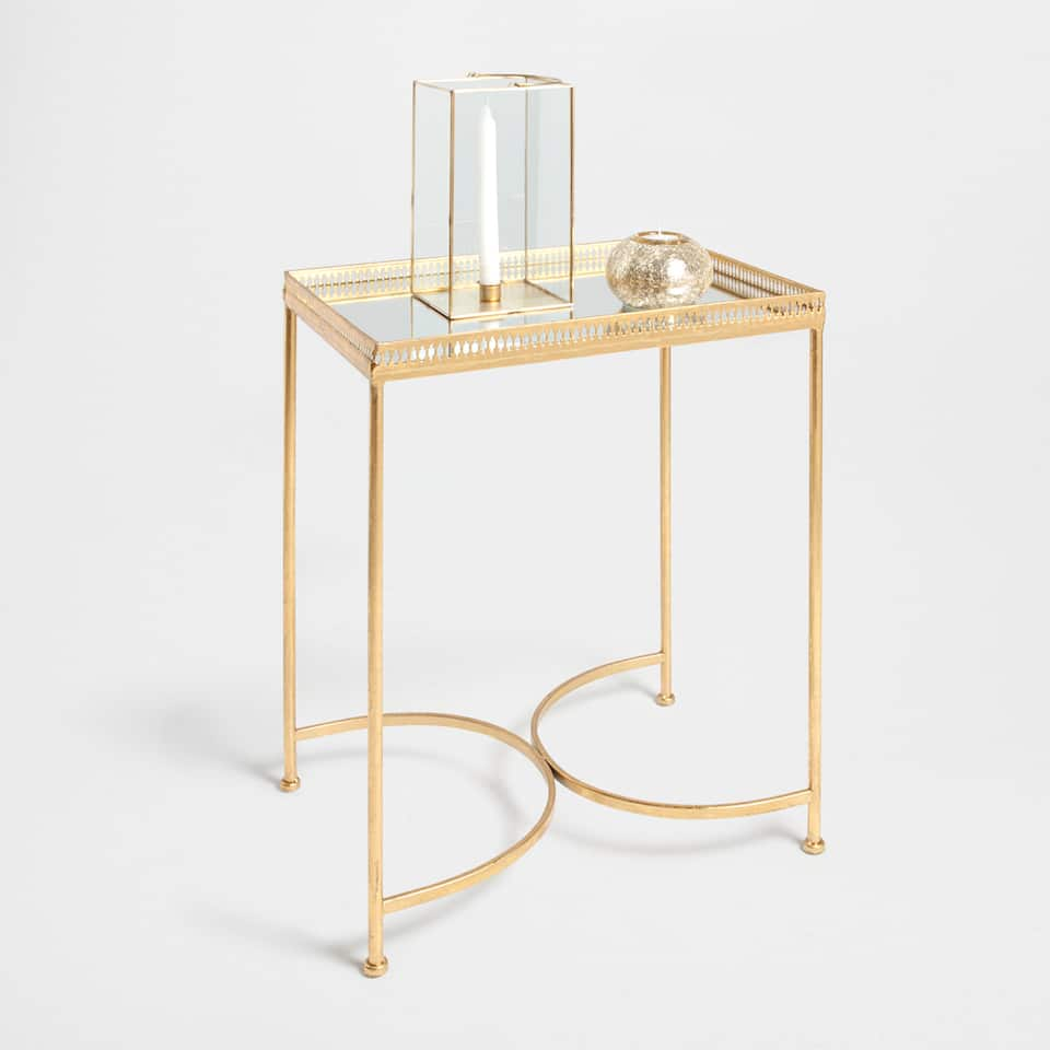 Golden iron and glass side table