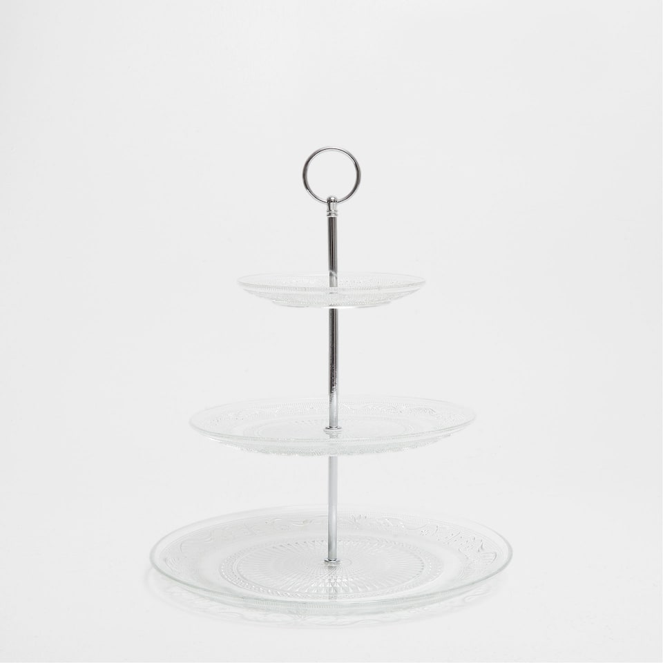 Tiered raised-design glass serving dish