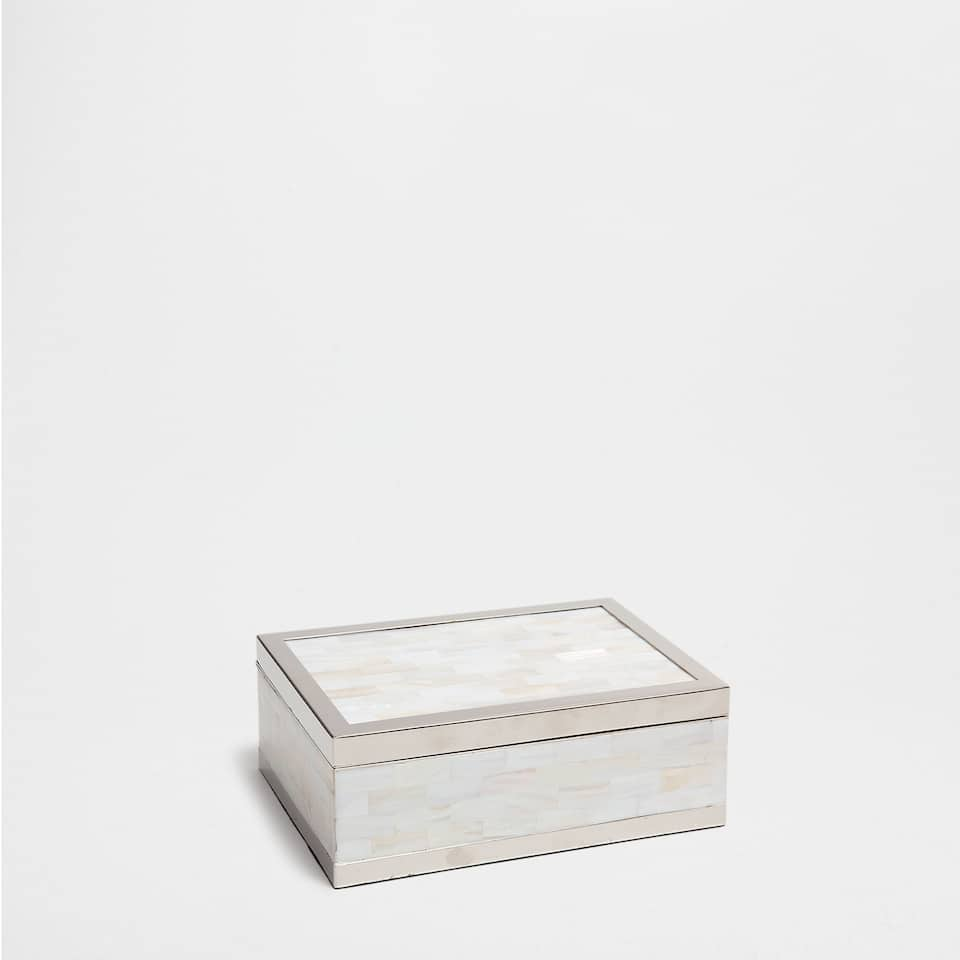 MOTHER-OF-PEARL BOX WITH METAL