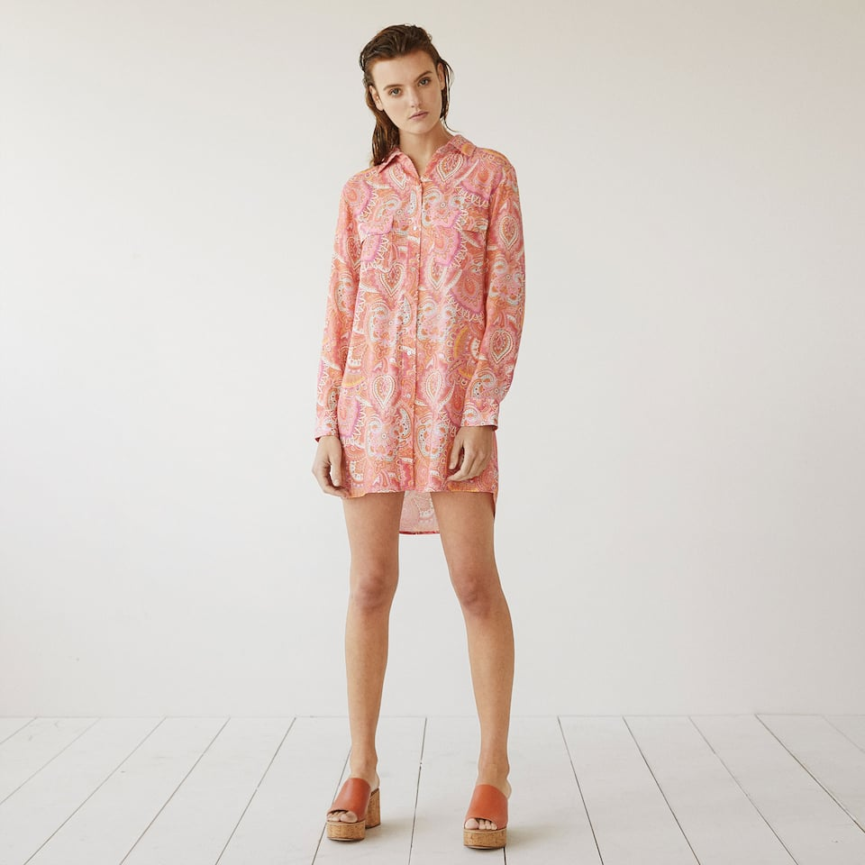 Paisley button up tunic in coral tones
