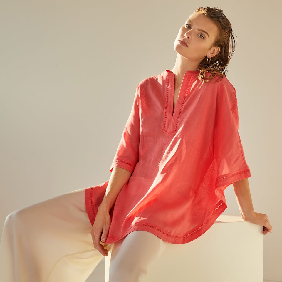 Coral ramie tunic with neckline detail