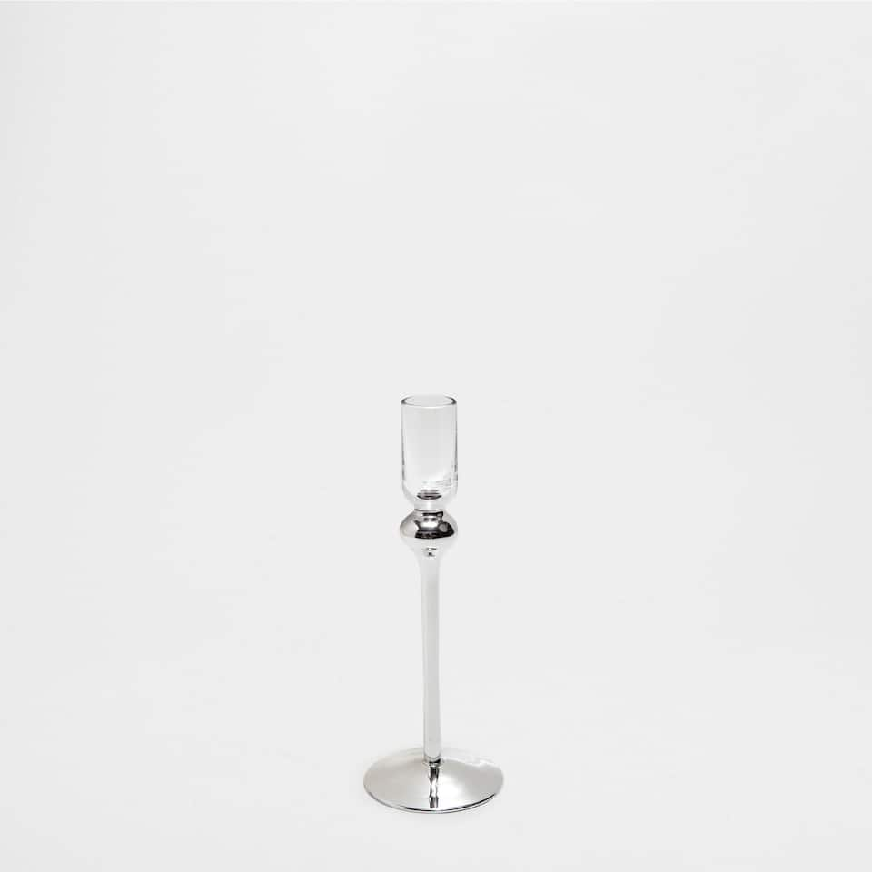 TALL CANDLESTICK WITH SILVER TONED BASE