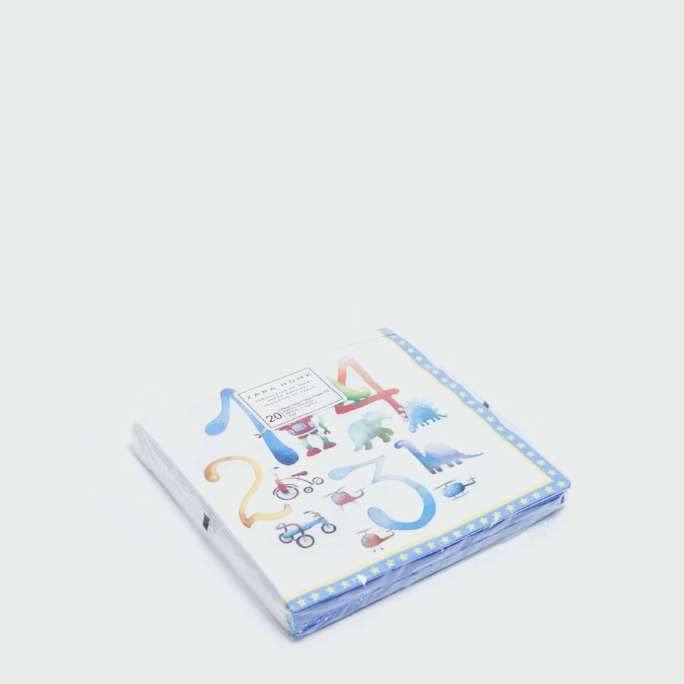 Numbers paper napkins (set of 20)