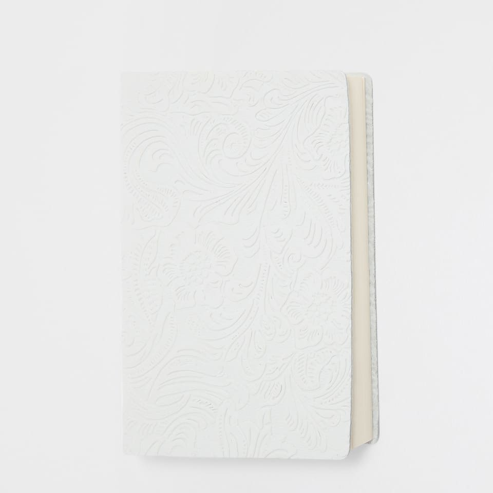 2017 white leather diary with engraved flowers