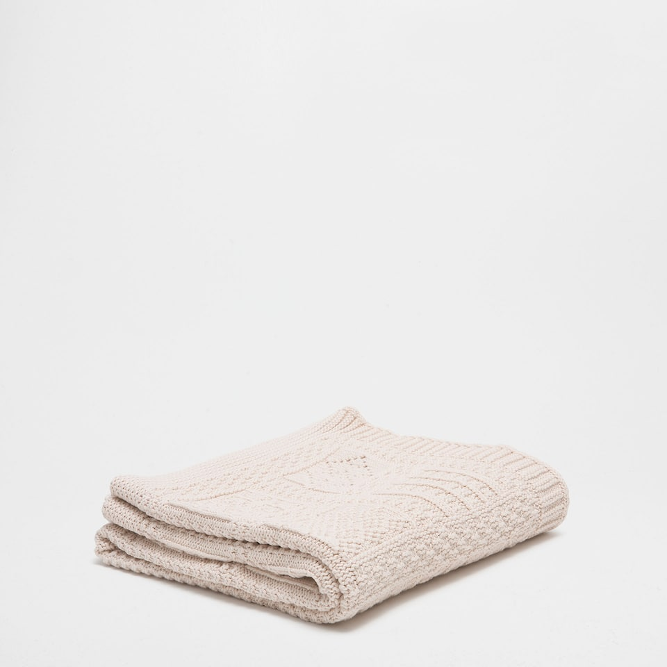 CHECKED COTTON KNIT BLANKET