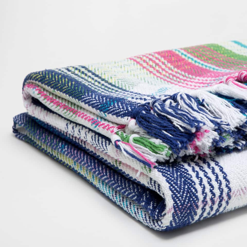 MULTICOLOURED CHECKED COTTON BLANKET