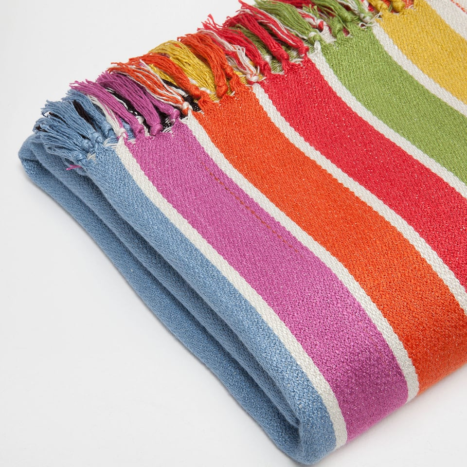 MULTICOLOURED STRIPED VISCOSE BLANKET