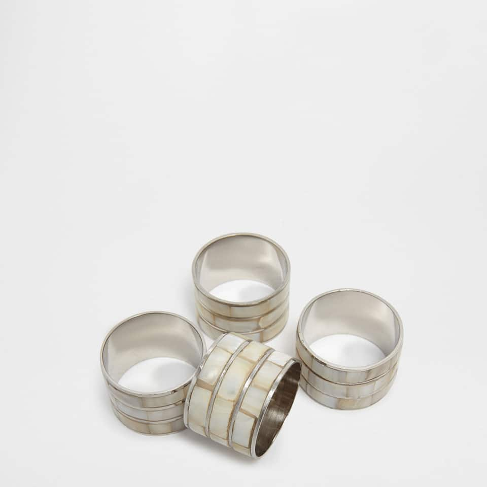 Mother-of-pearl strip napkin ring (Set of 4)