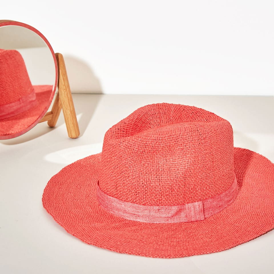 Coral red hat