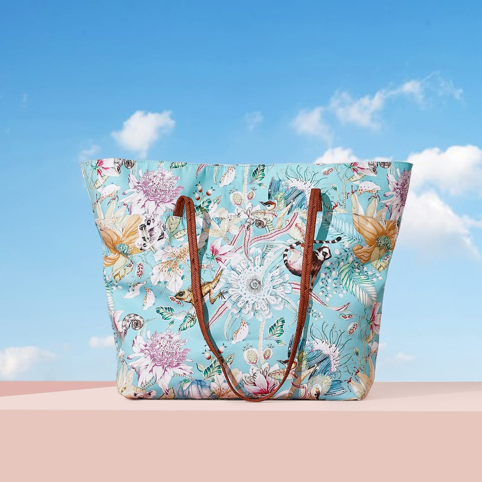 FLORA AND FAUNA PRINT TOTE BAG