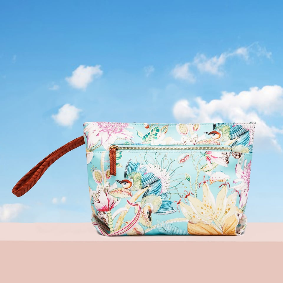 FLORA AND FAUNA PRINT TOILETRY BAG