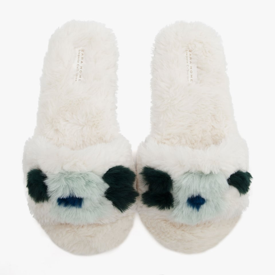 FLORAL FAUX FUR SLIDES