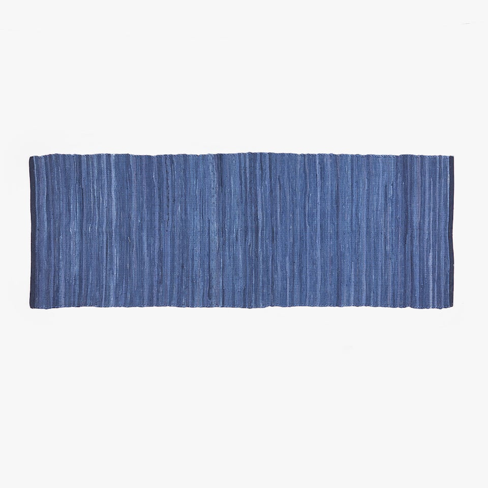 BLUE STRIPED COTTON HALL RUG