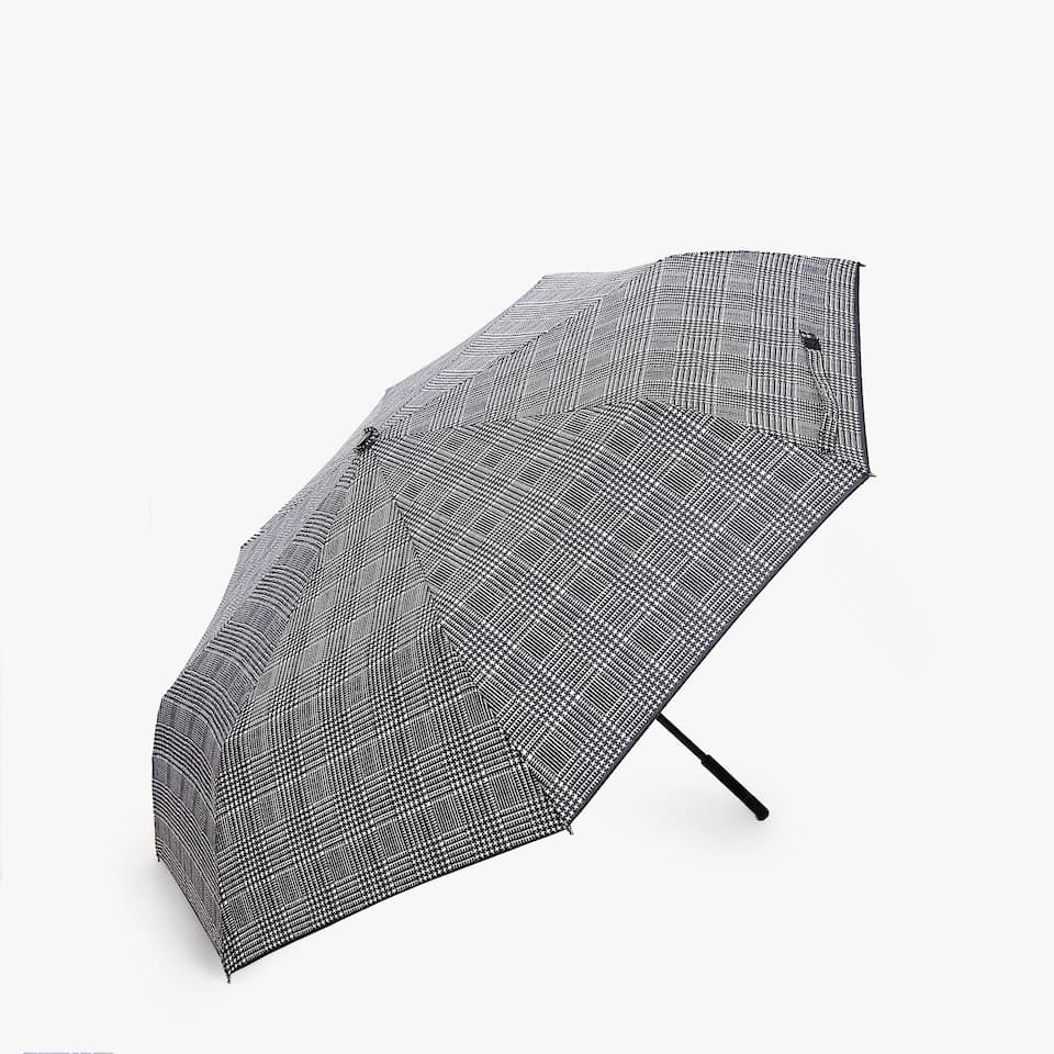 CHECKED PRINT FOLDING UMBRELLA
