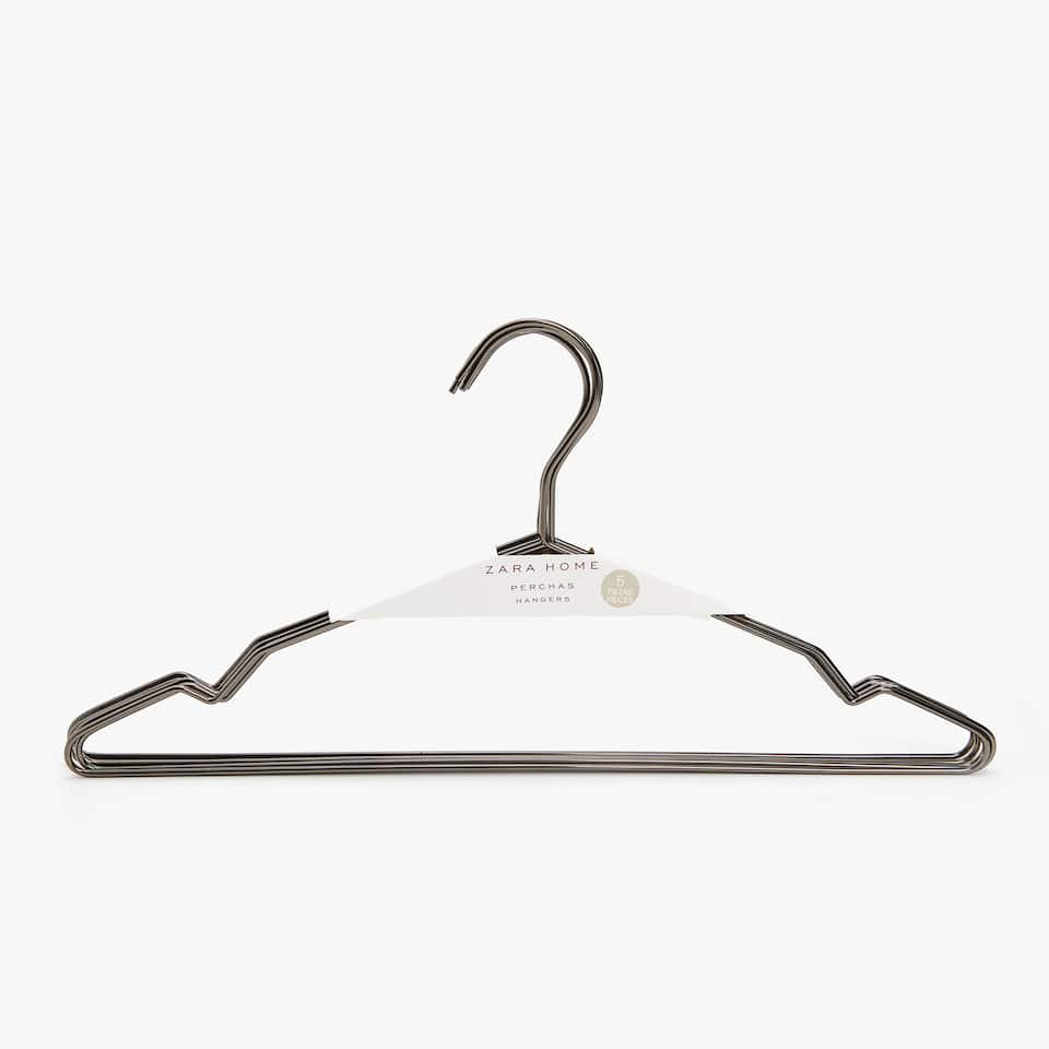 GREY METAL HANGER (SET OF 5)