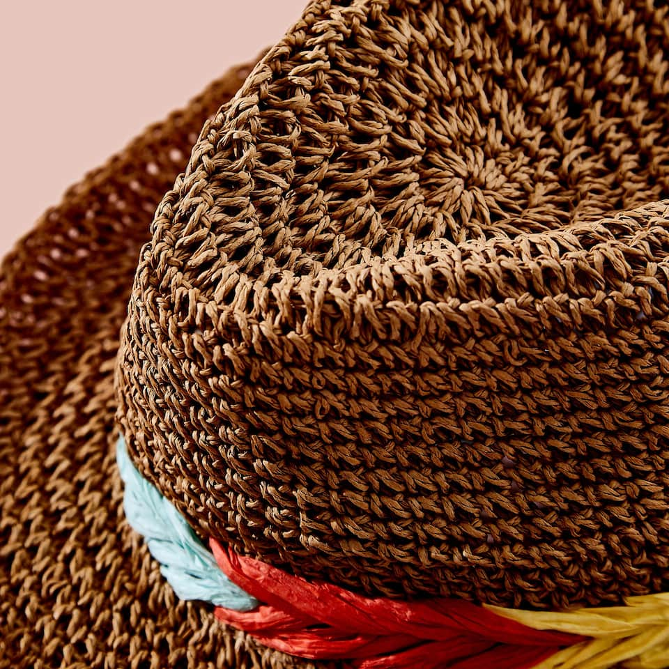 HAT WITH MULTICOLOURED BRAID DETAIL