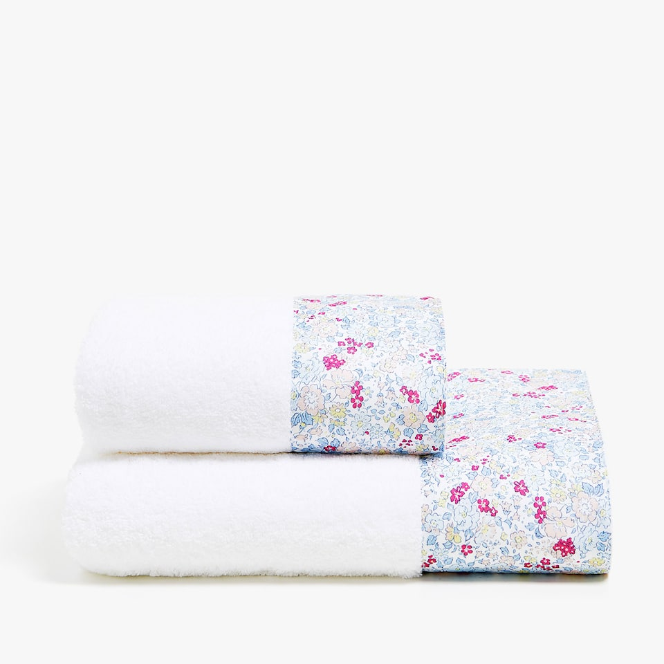 COTTON TOWEL WITH FLORAL PRINT BORDER