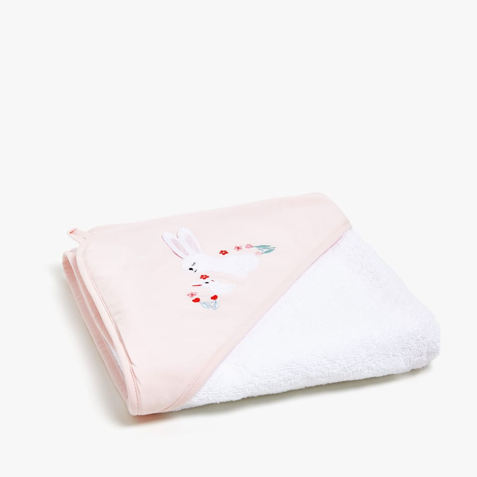 STRIPED COTTON TOWEL WITH LITTLE ANIMALS