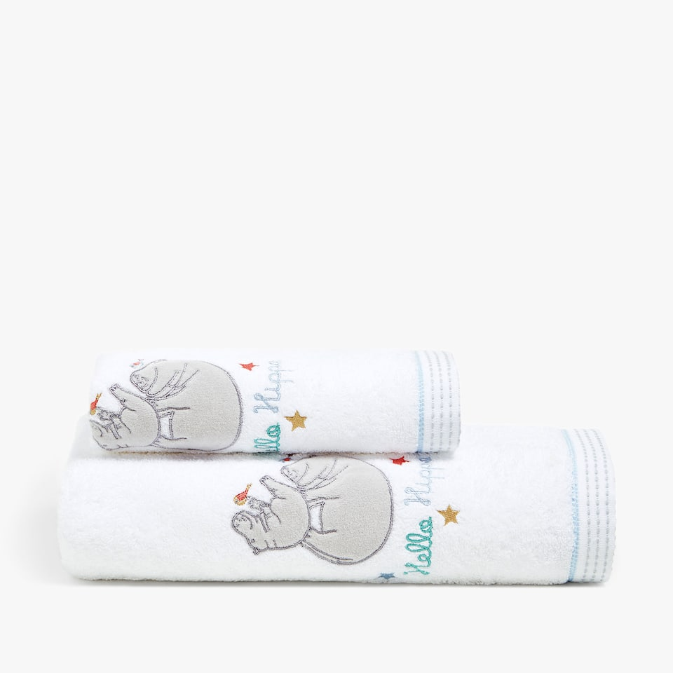 COTTON TOWEL WITH EMBROIDERED DESIGN