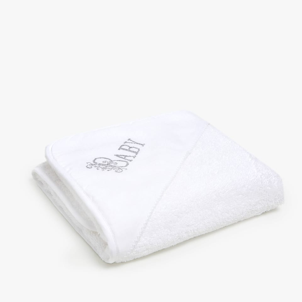 TOWEL WITH EMBROIDERED LINEN DETAIL
