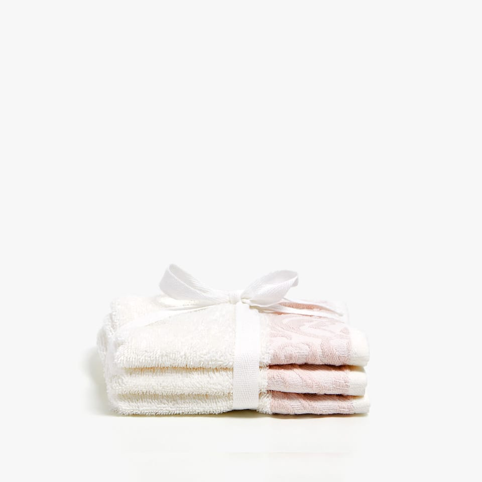 COTTON TOWEL WITH JACQUARD BORDER (SET OF 3)