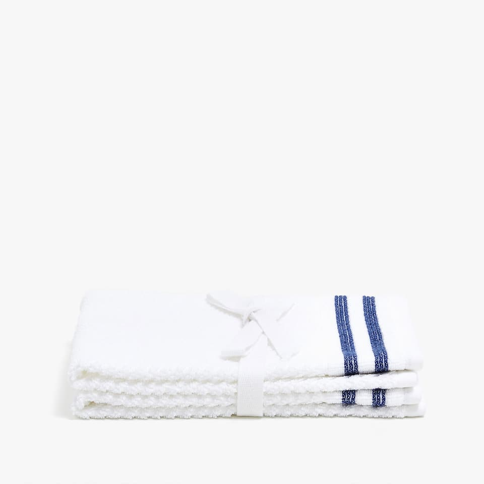 COTTON TOWEL WITH STRIPED BORDER (SET OF 2)