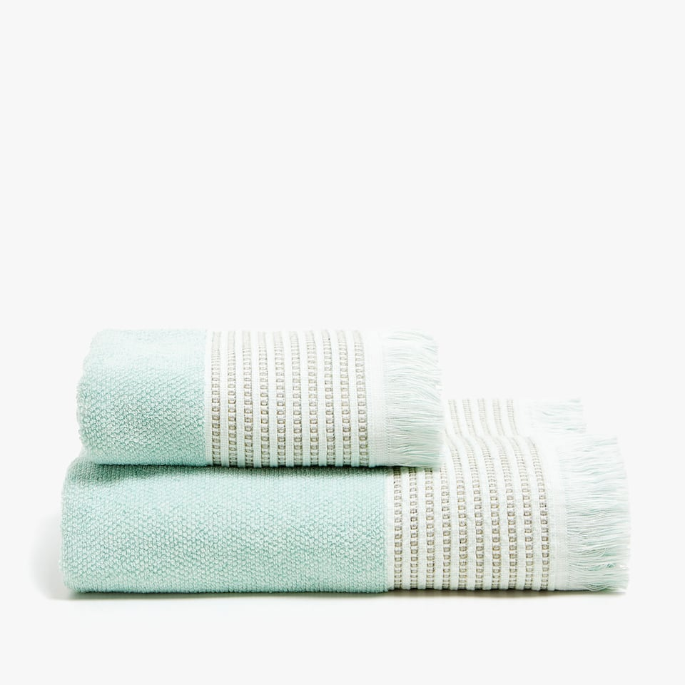 COTTON TOWEL WITH EMBROIDERED LINEN BORDER
