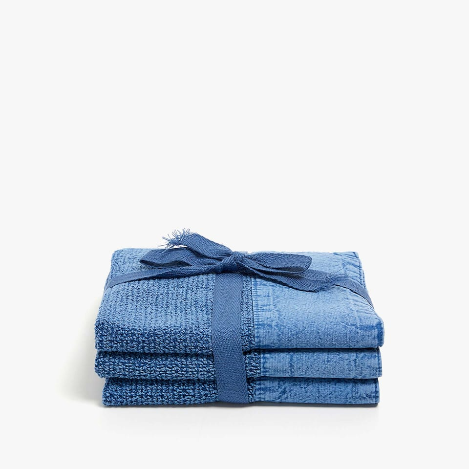 DENIM-COLOURED COTTON TOWEL (SET OF 2)