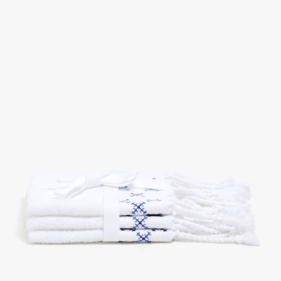EMBROIDERED COTTON TOWEL WITH FRINGE (SET OF 3)