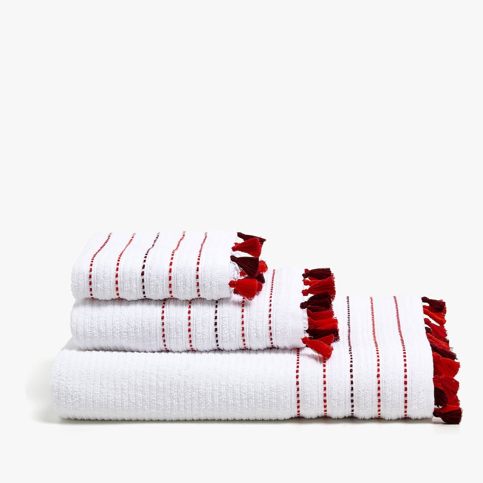 COTTON TOWEL WITH TASSEL BORDER