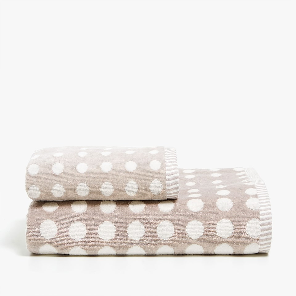 POLKA DOT VELVET COTTON TOWEL