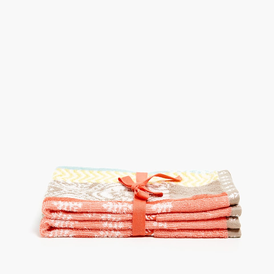 MULTICOLOURED VELVET COTTON TOWEL (SET OF 2)