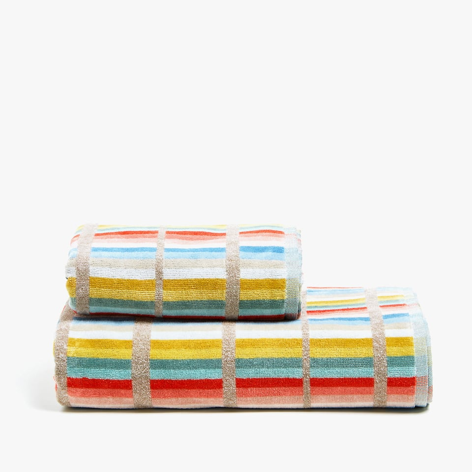 COTTON TOWEL WITH MULTICOLOURED LINES