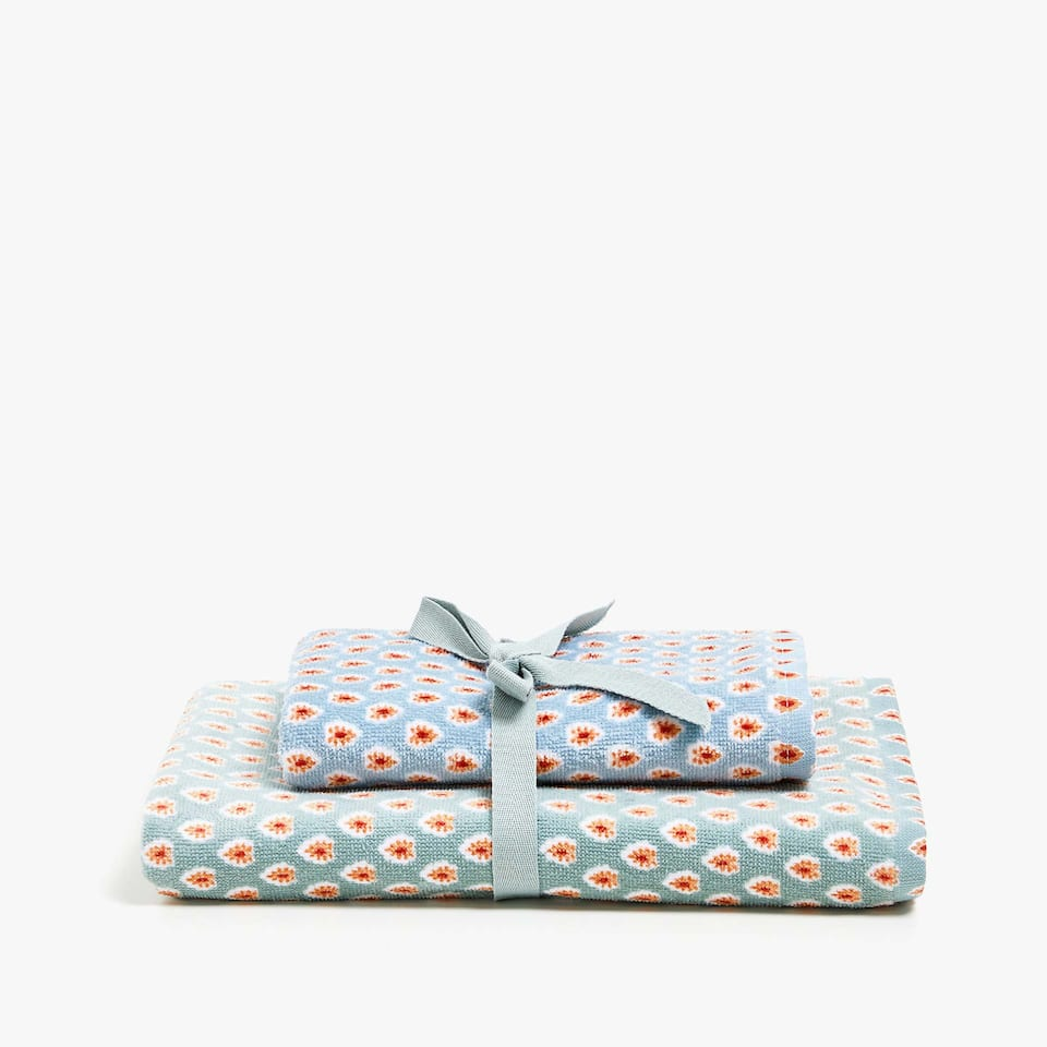 PRINTED COTTON GUEST TOWEL (SET OF 2)