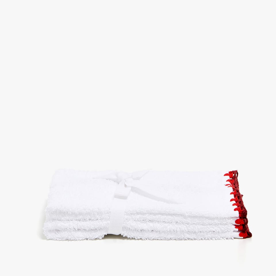 COTTON TOWEL WITH CROCHET DETAIL (SET OF 2)