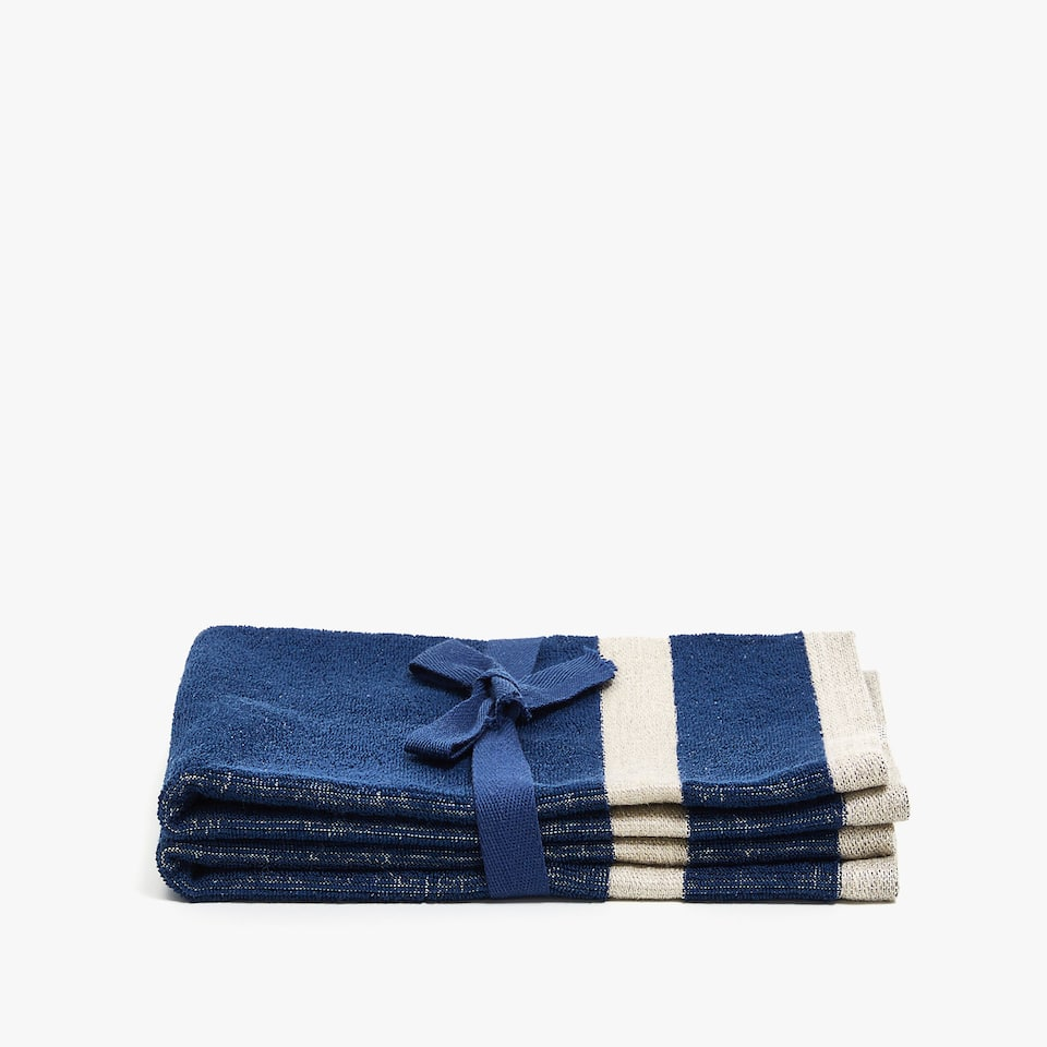 COTTON TOWEL WITH LINEN STRIPES (SET OF 2)
