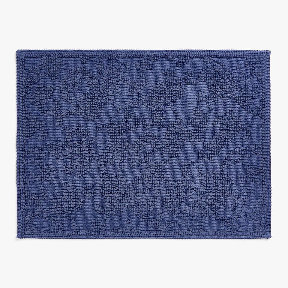 REVERSIBLE FLORAL DESIGN COTTON BATH MAT