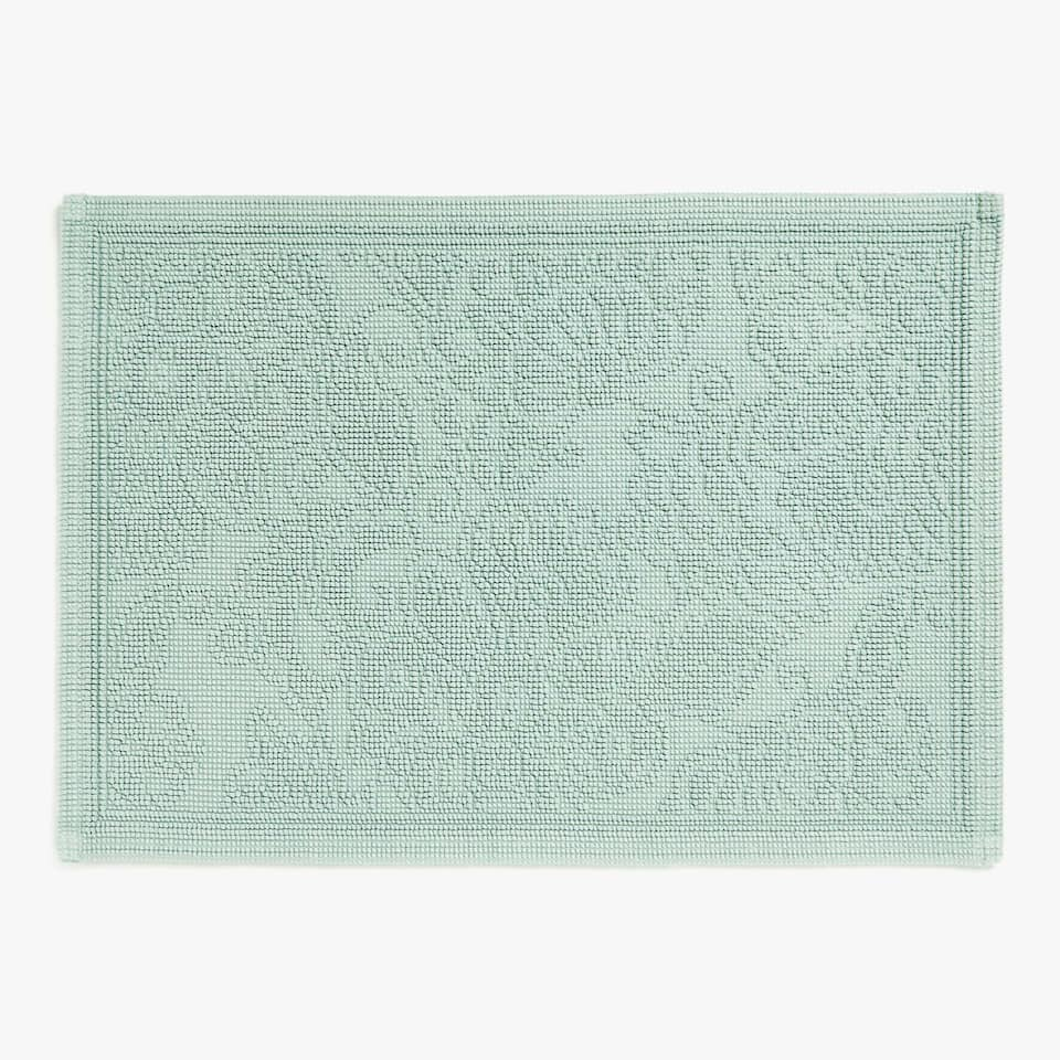 FLORAL COTTON JACQUARD BATH MAT