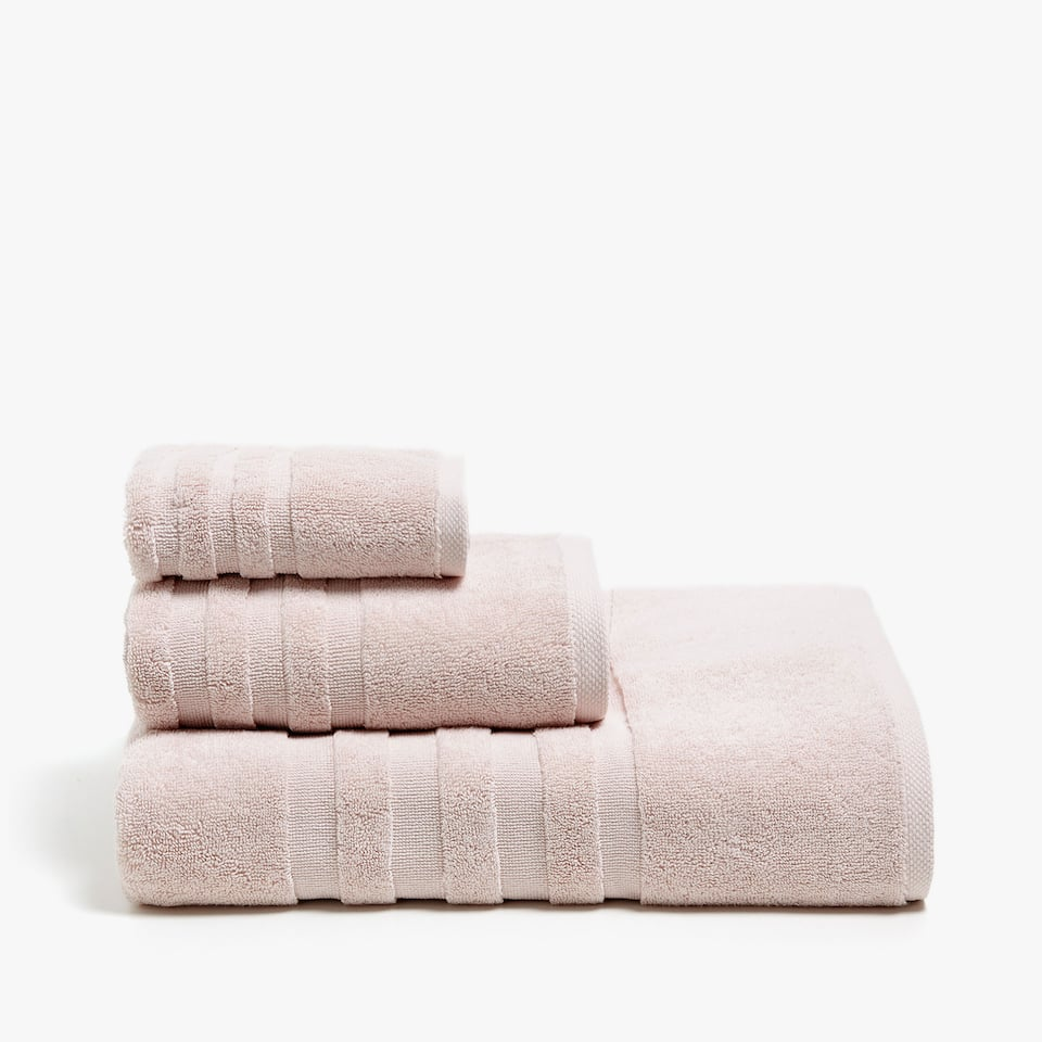 JACQUARD-STRIPED COTTON BATH TOWEL