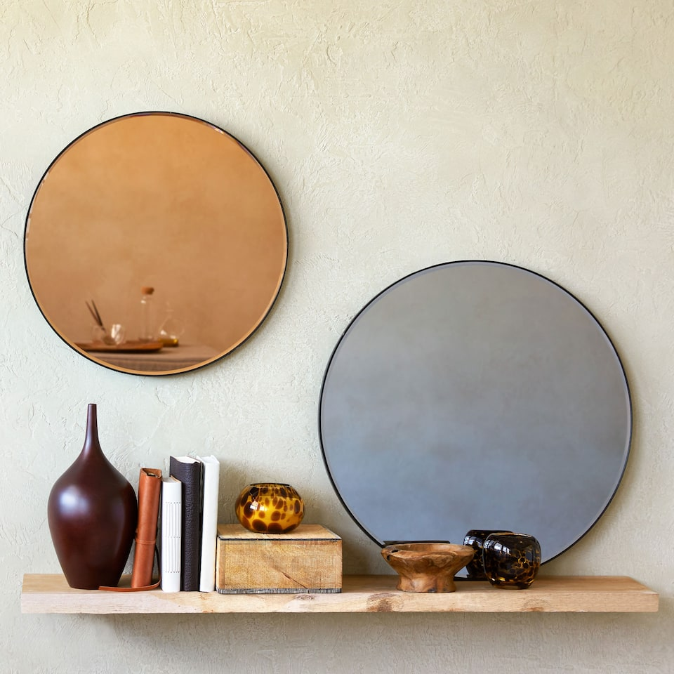 COPPER-TONED ROUND GLASS MIRROR