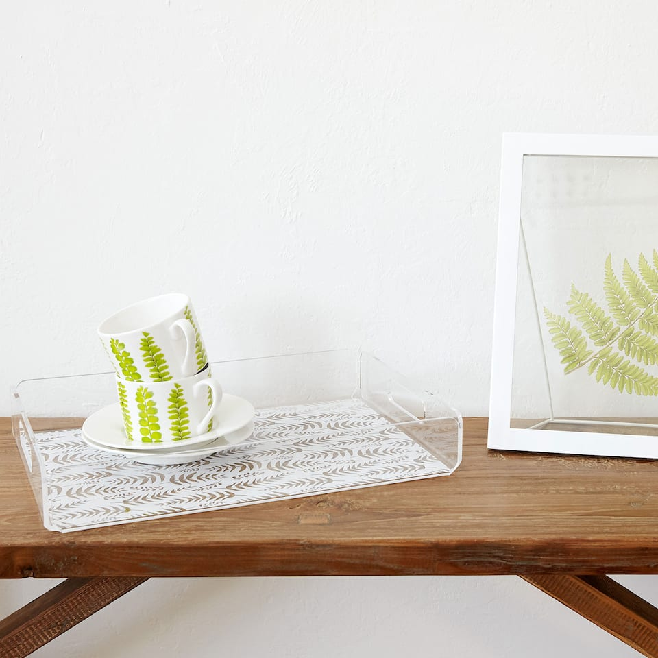 LEAF PRINT RECTANGULAR TRAY