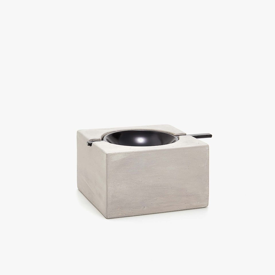 METAL AND STONE CUBE ASHTRAY