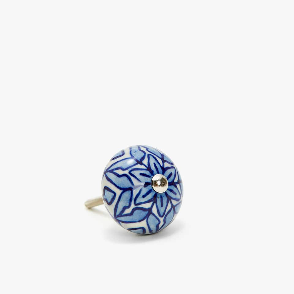 BLUE FLOWER CERAMIC DOOR KNOB (SET OF 2)