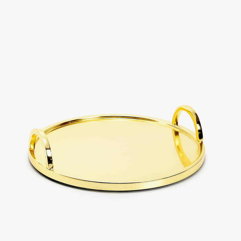 ROUND GOLD METAL TRAY