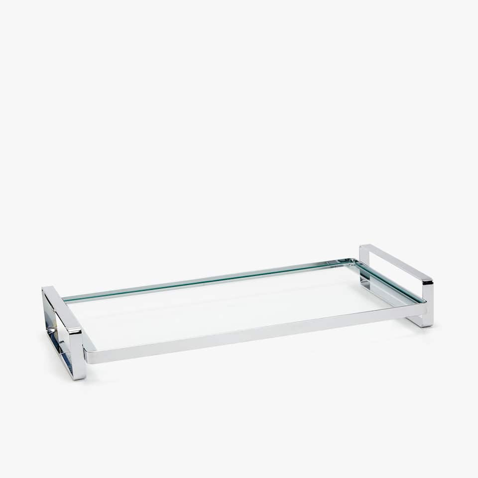 GLASS TRAY WITH METAL HANDLES