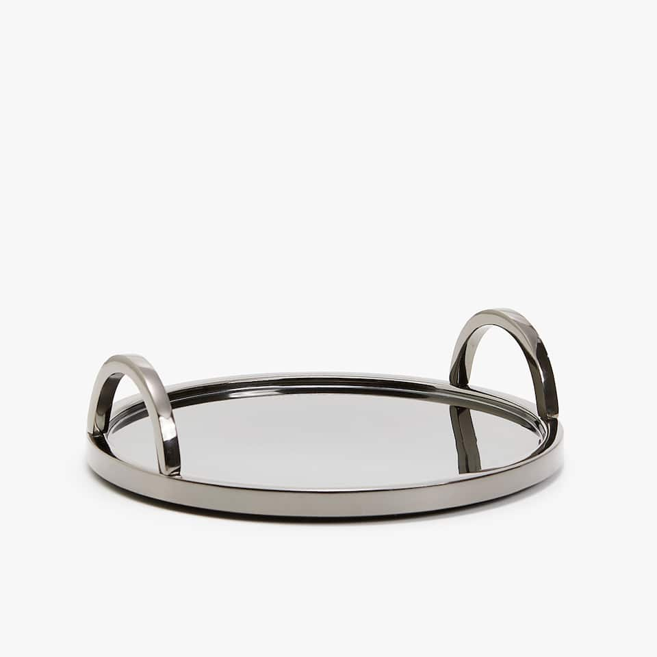 ROUND GREY METAL TRAY