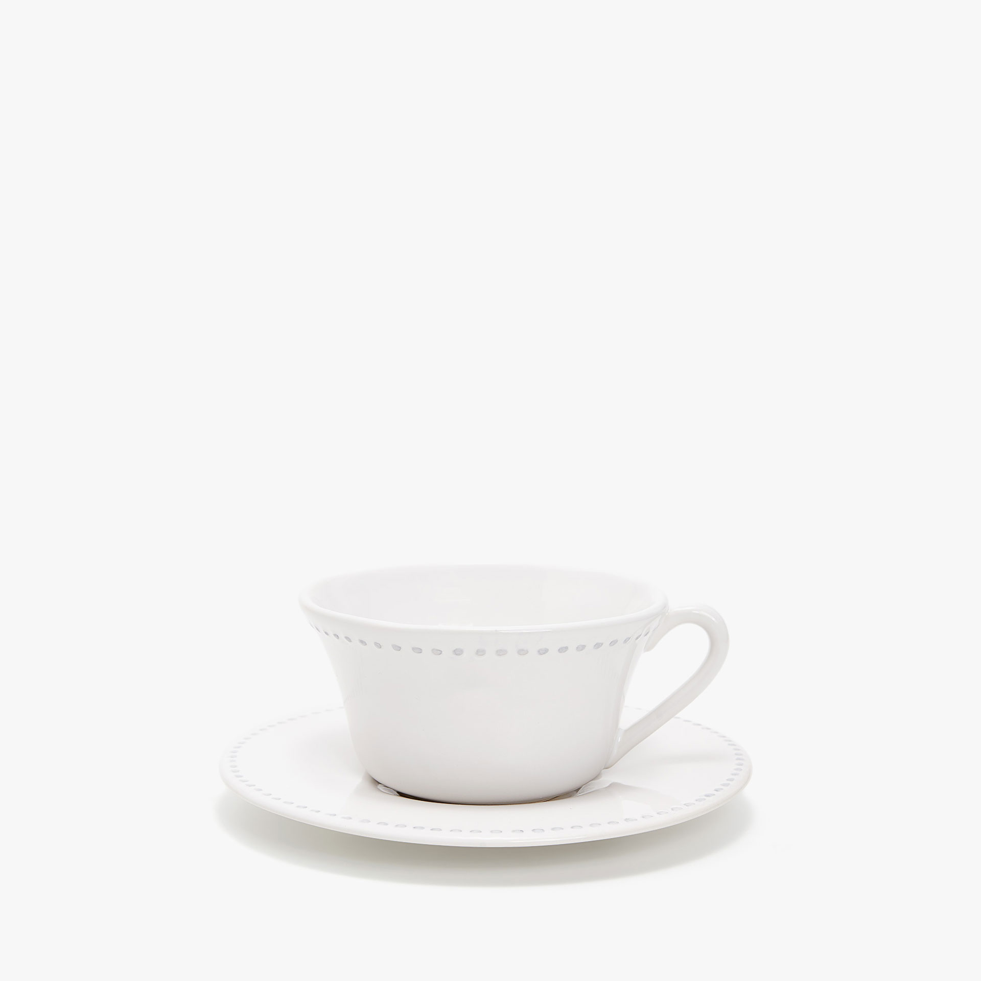 EARTHENWARE RAISED-DESIGN EDGE BREAKFAST MUG AND SAUCER