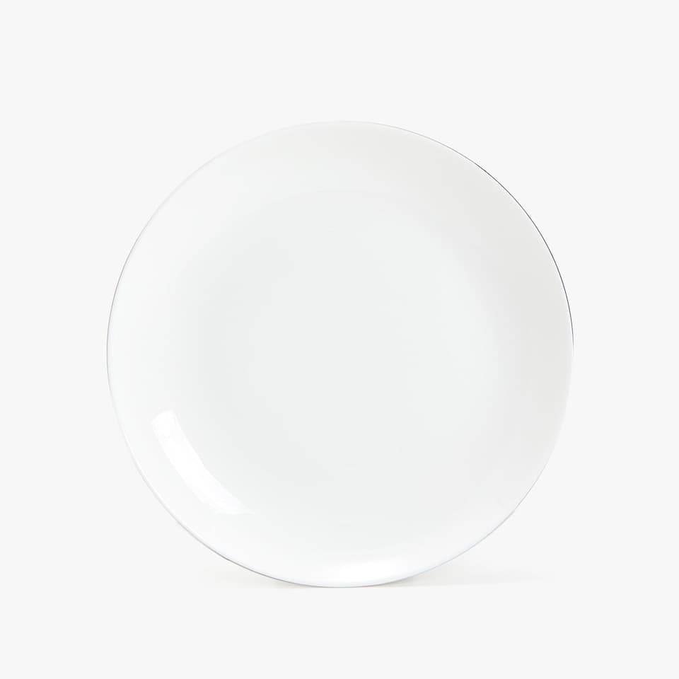 Plato llano bone china filo plateado